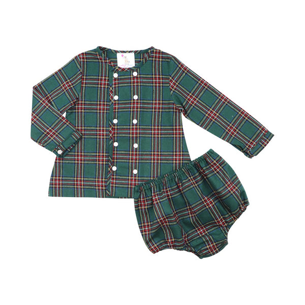 Red and Green Plaid Flannel Diaper Set