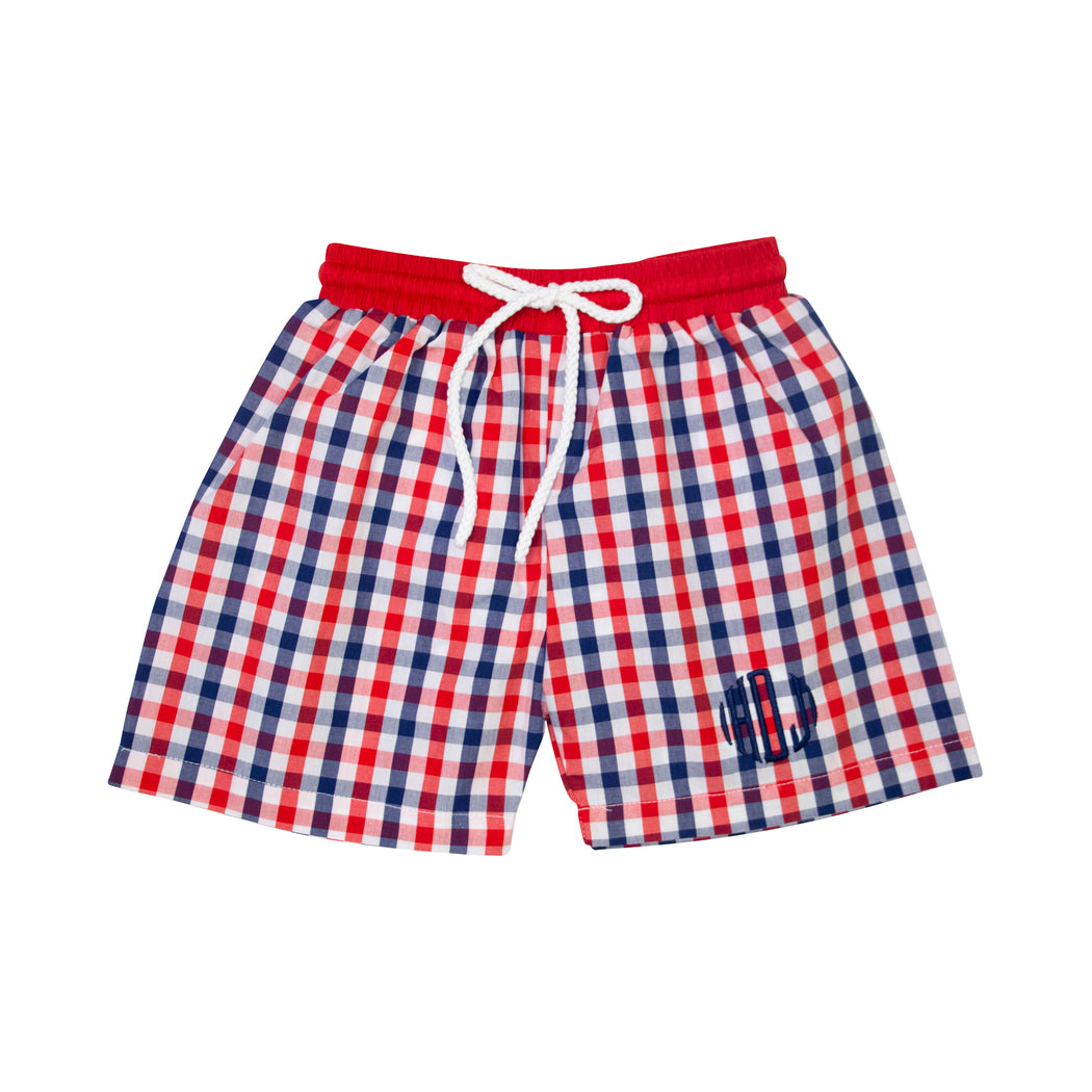 Red and Navy Check Swim Trunks