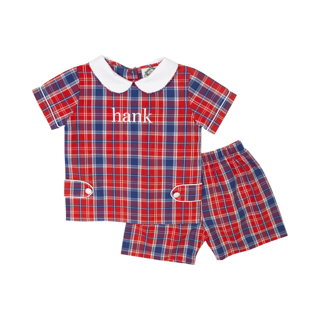 Red and Navy Plaid Boys Short Set