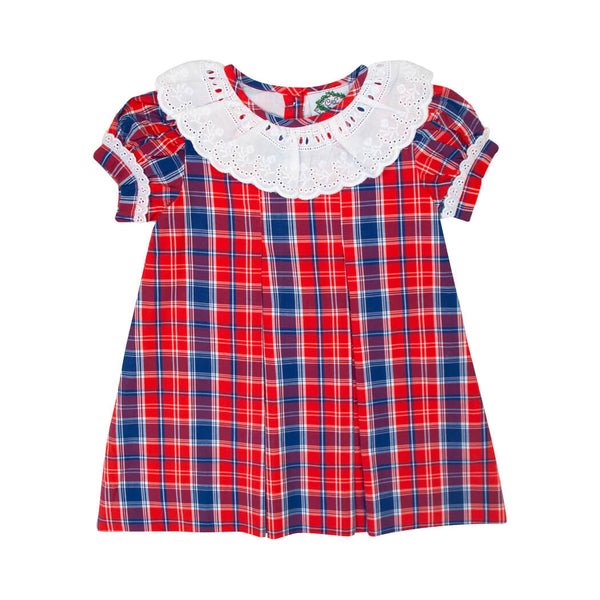 Red and Navy Plaid Dress with Eyelet Collar