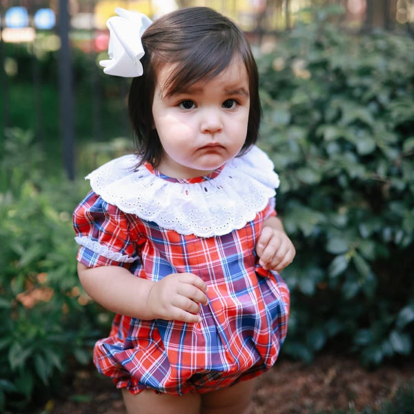 Red and Navy Plaid Girls Bubble with Eyelet Collar