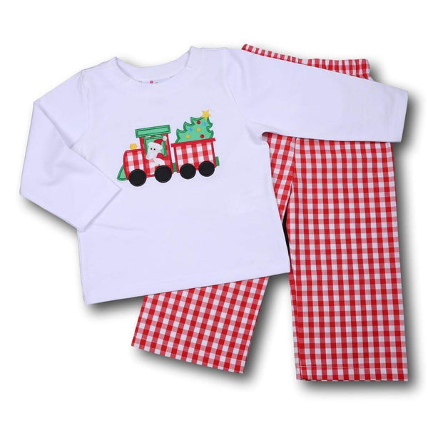 Red Check Applique Train and Tree Pant Set