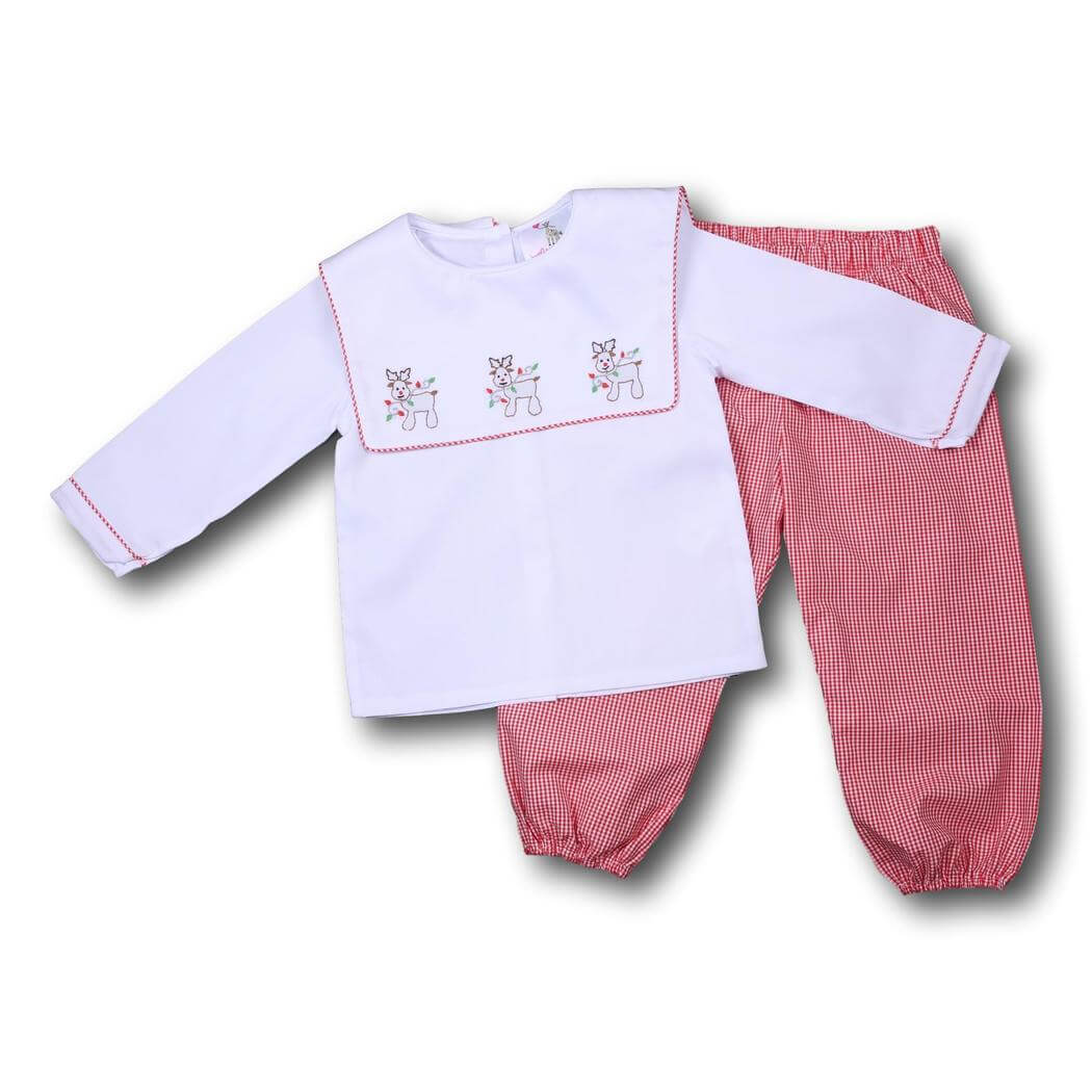 Red Gingham Shadow Embroidered Reindeer Pant Set