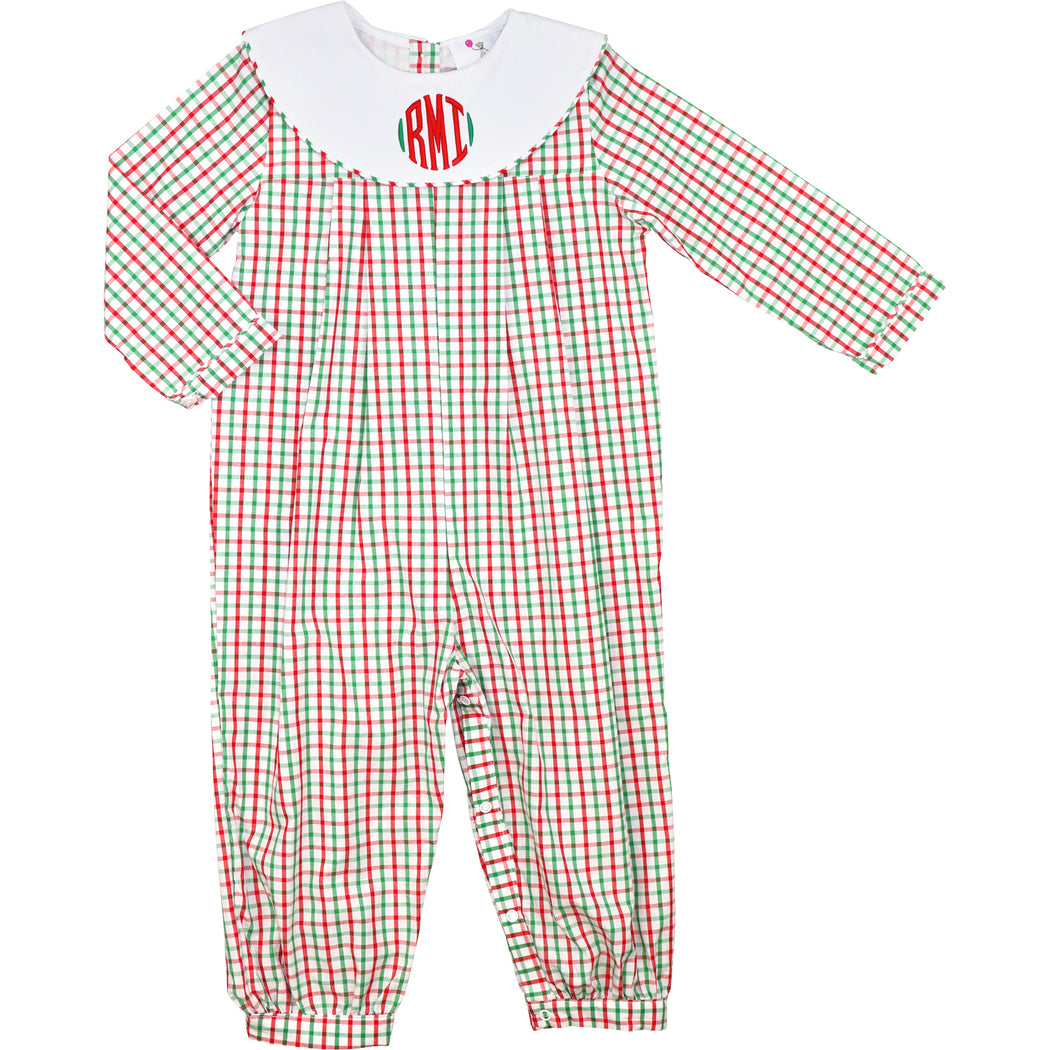 Red and Green Windowpane Long Romper