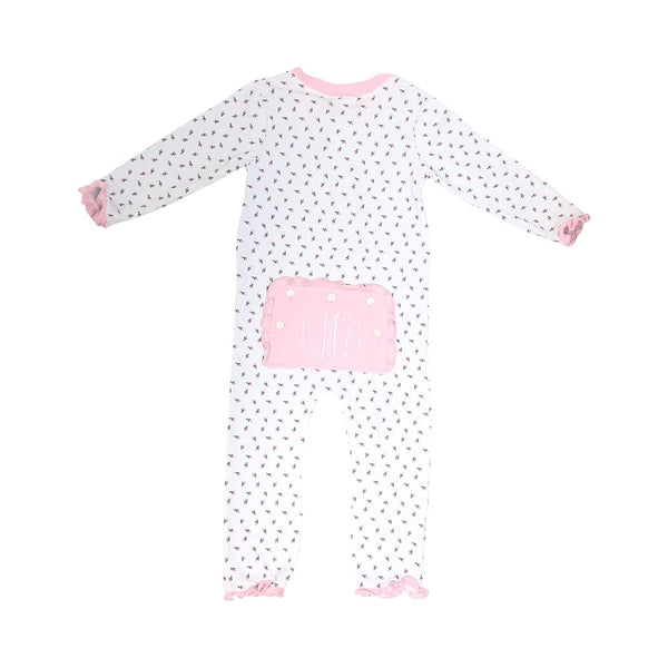 Rosebud Knit Ruffle Zipper Pajamas - BACK
