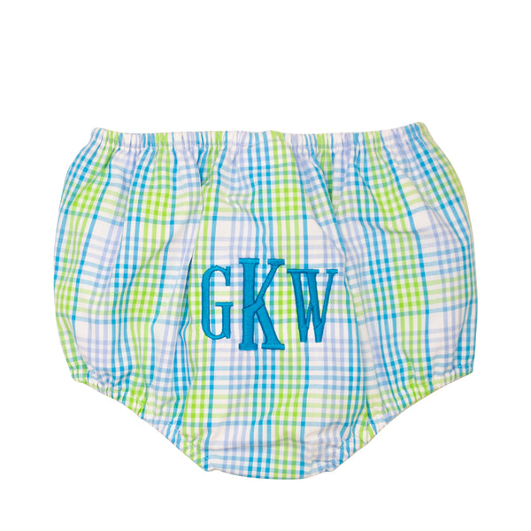 Turquoise Plaid Swim Bloomer