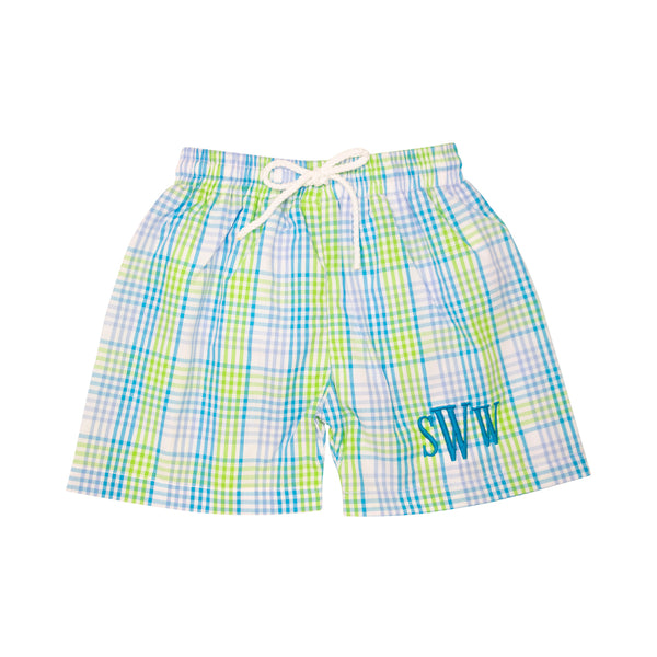 Turquoise Plaid Swim Trunks