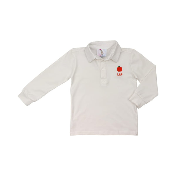 White Knit Pumpkin Polo Shirt