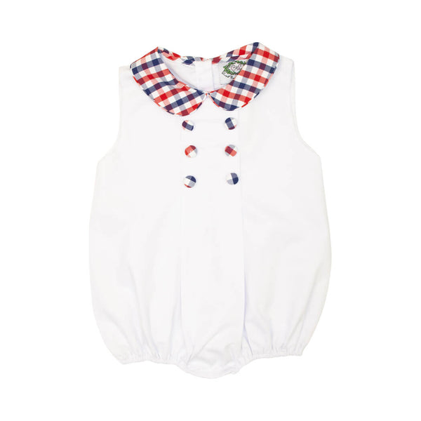 White Boys Bubble with Navy and Red Check Collar