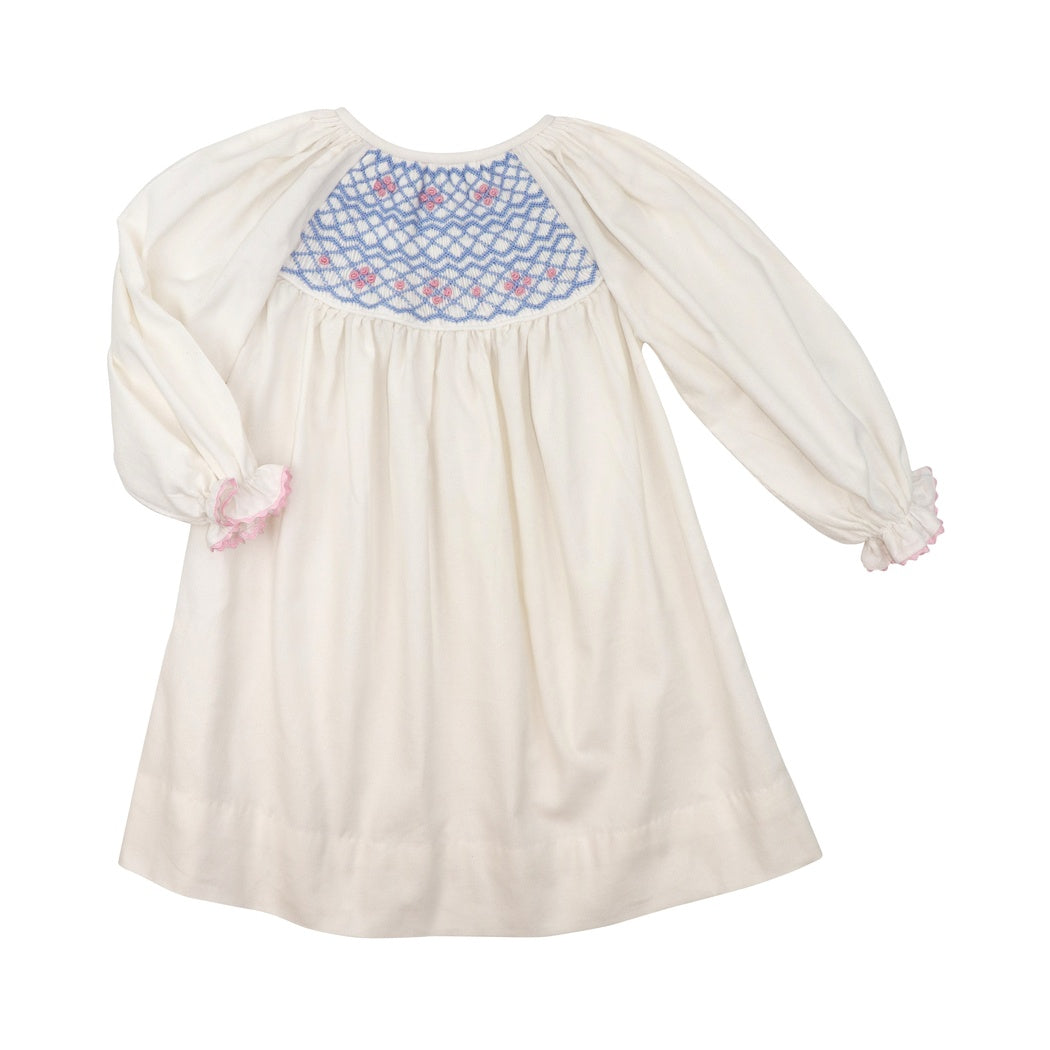 White Corduroy Smocked Dress