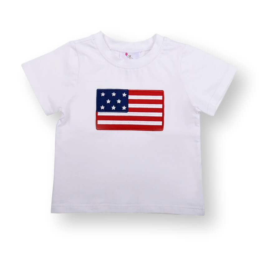 White Knit Applique Flag Shirt