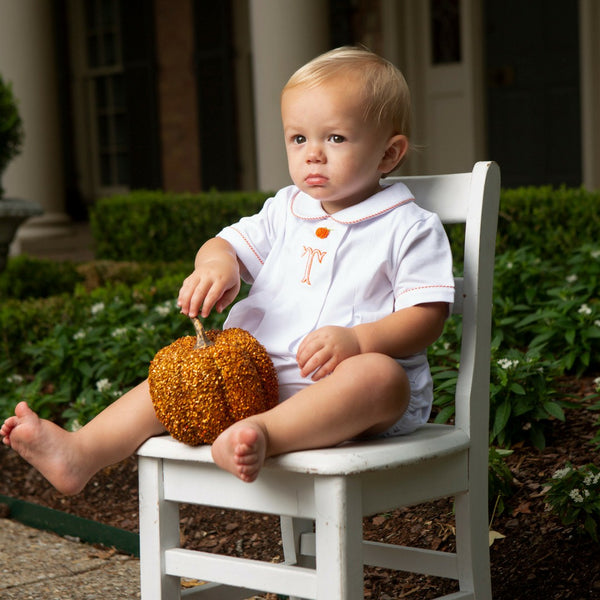 White Knit Embroidered Pumpkin Bubble