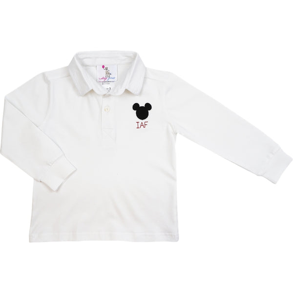 White Knit Mouse Ears Polo Shirt