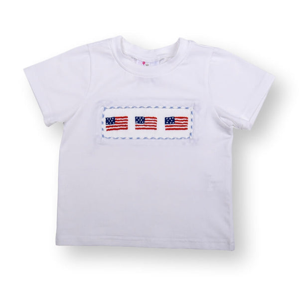 White Knit Smocked Flag Shirt