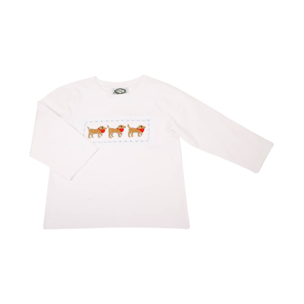 White Knit Smocked Heart Lab Shirt