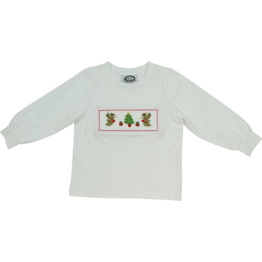 White Knit Smocked Reindeer Christmas Tree Shirt