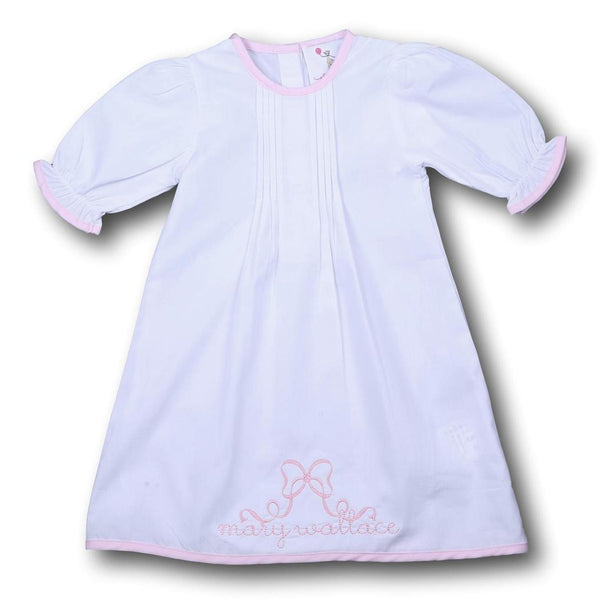 White Layette Gown with Pink Trim
