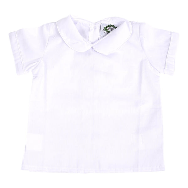 White Pique Boys Peterpan Collar Shirt