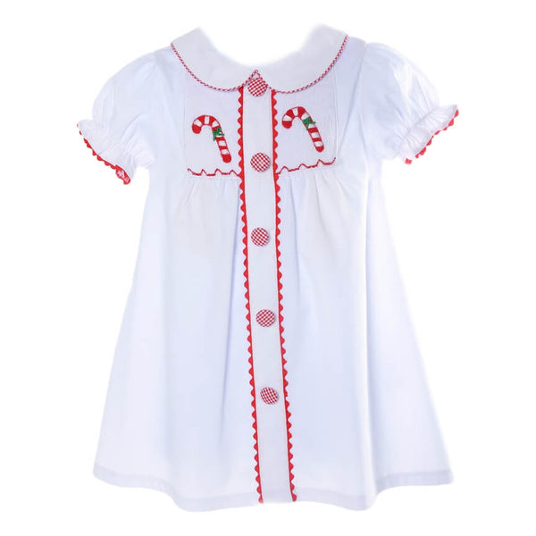 White Pique Smocked Candy Cane A-Line Dress