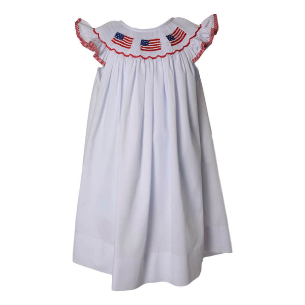 White Pique Smocked Flag Bishop