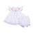 White Smocked Bunny with Ric Rac Trim Bloomer Set