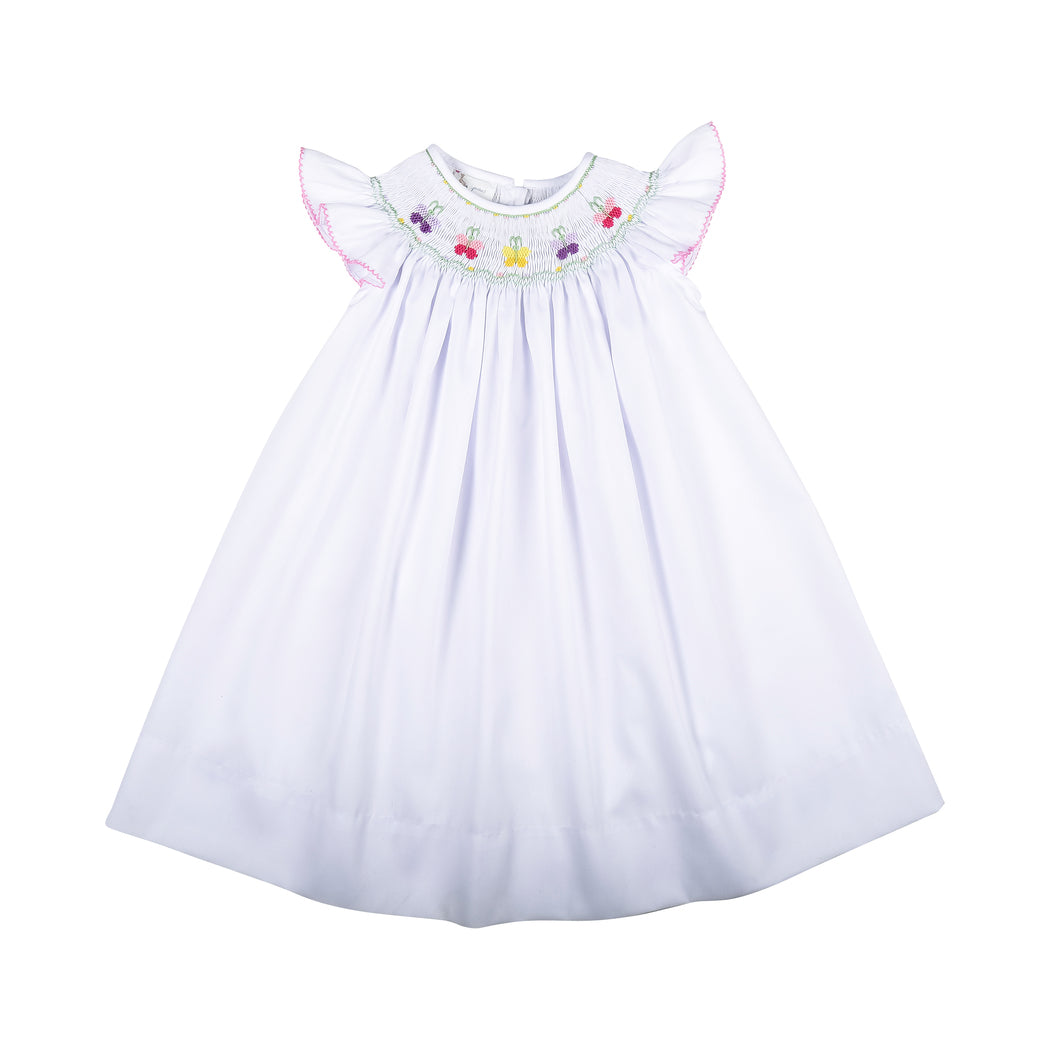 White Smocked Butterflies Bishop Dress