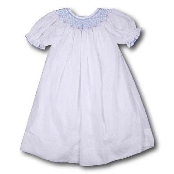 White Swiss Dot Geometric Smocked Dress