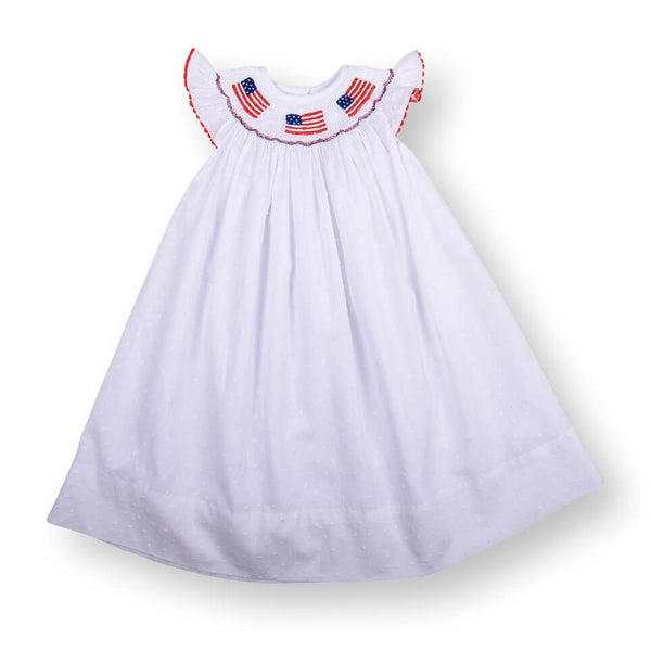 White Swiss Dot Smocked Flag Bishop Dress