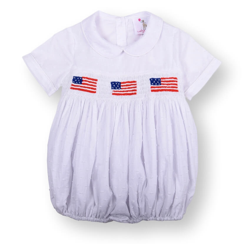 White Swiss Dot Smocked Flag Boys Bubble