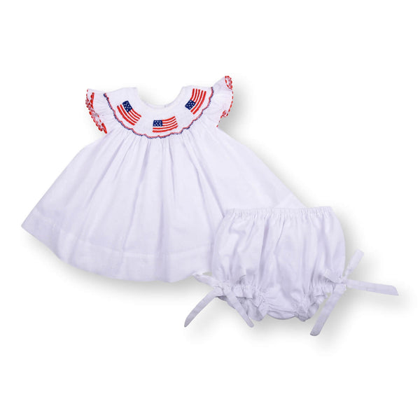 White Swiss Dot Smocked Flag Diaper Set