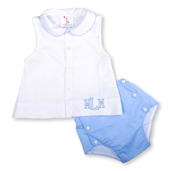 White and Blue Diaper Set