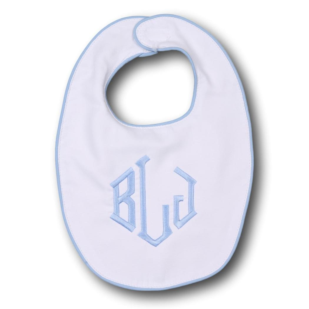 White and Blue Piping Trim Bib