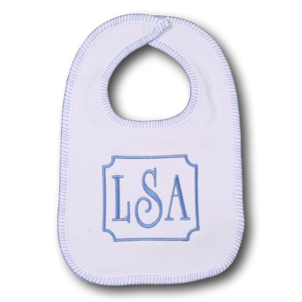 White and Blue Stitch Bib
