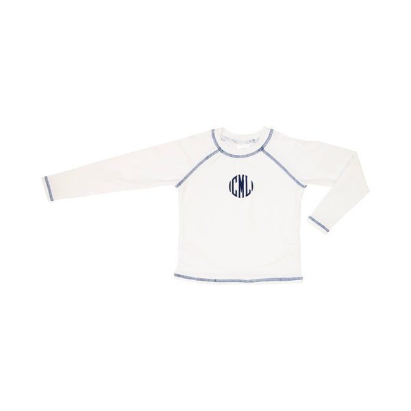 White and Navy Rash Guard