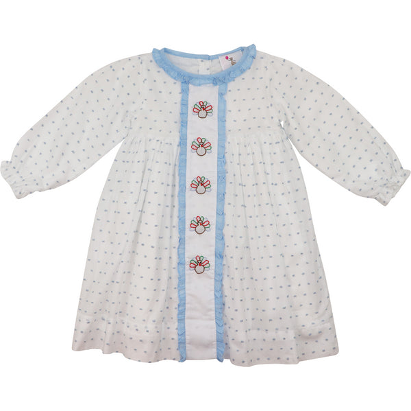 White with Blue Swiss Dot Turkey Dress