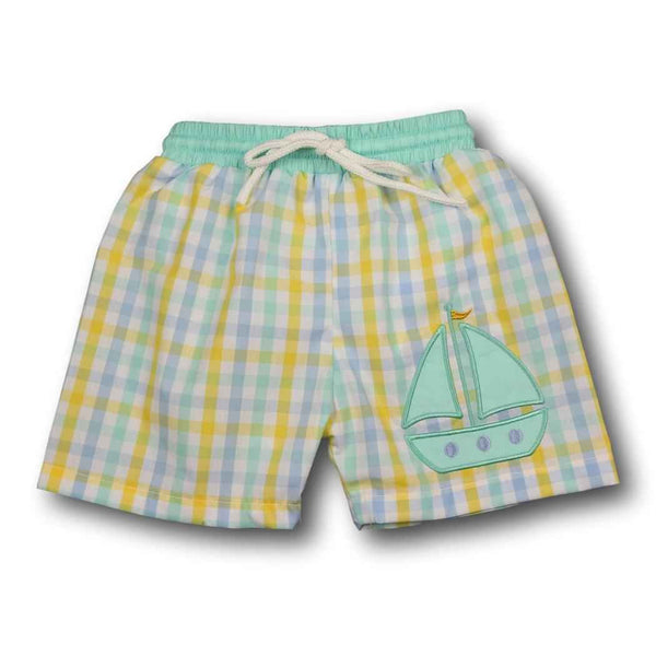 Yellow Check Sailboat Trunks