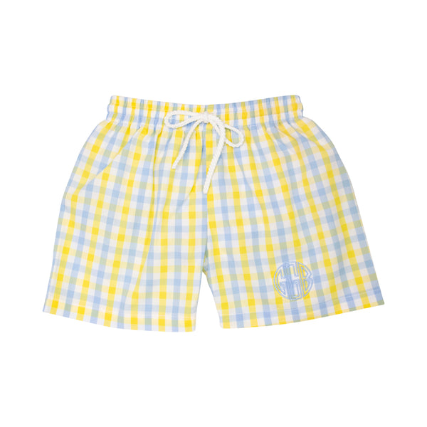 Yellow and Blue Check Swim Trunks