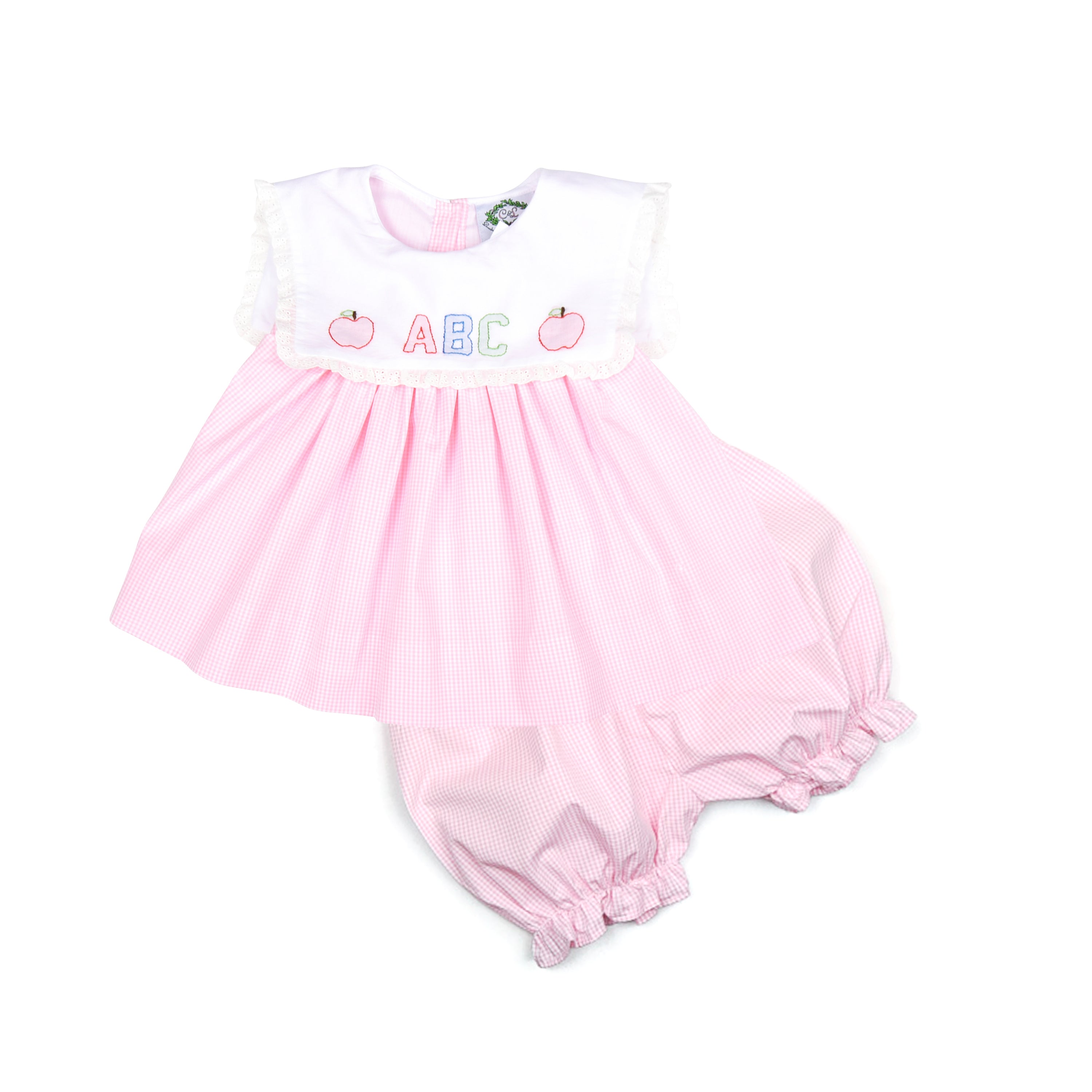 Pink Gingham Shadow Embroidered ABC Short Set