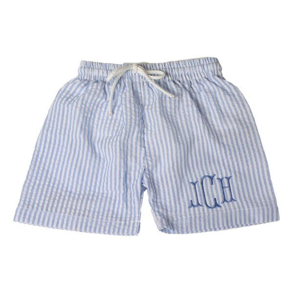 boys blue seersucker swim trunks by eliza james kids