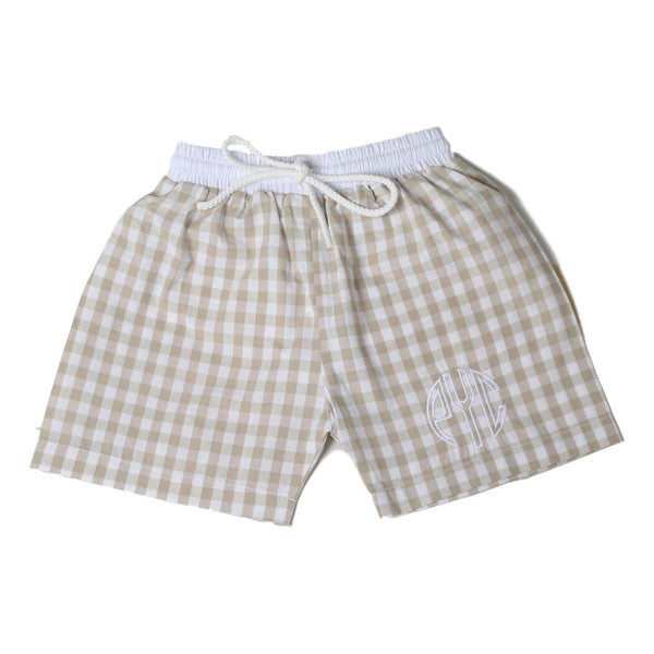 khaki check swim trunks