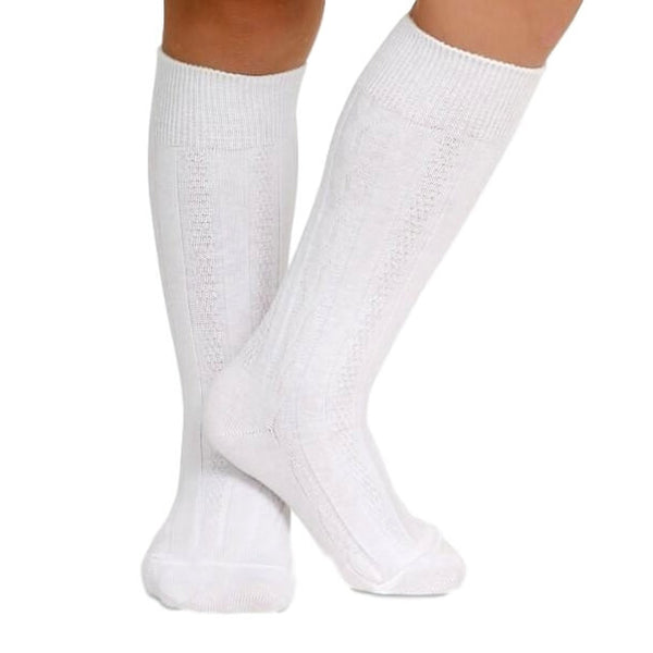 Kids White Cable Knit Knee Socks