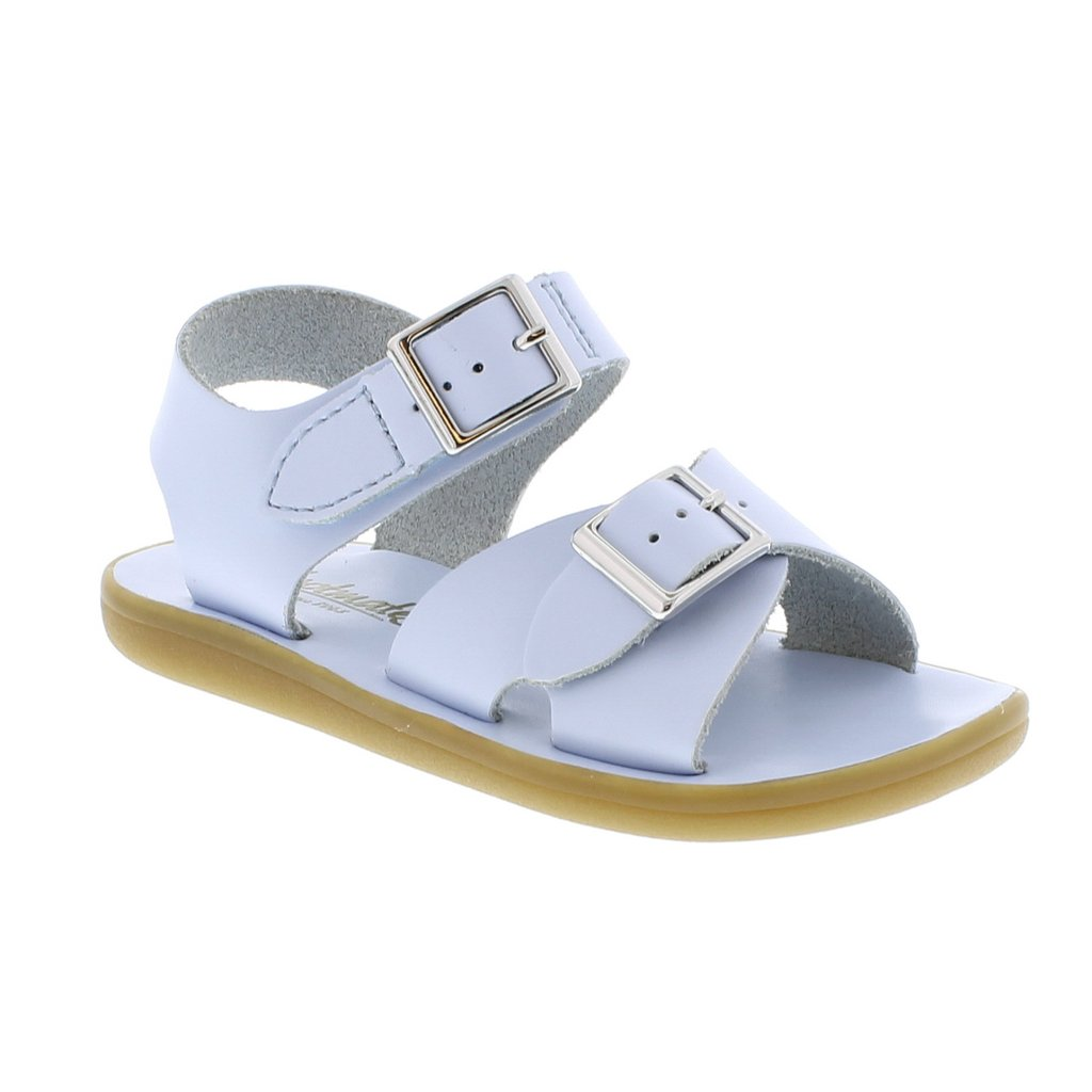 Light Blue Leather Sandal with Velcro Strap (Toddler)