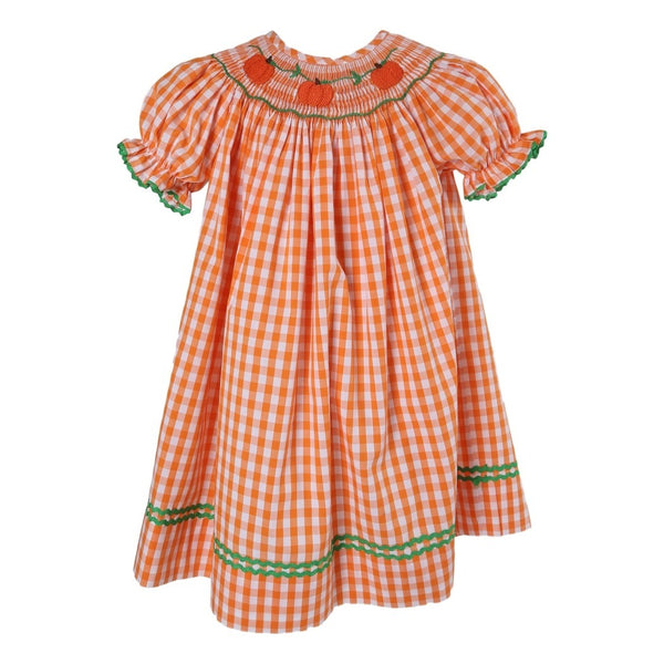Orange Check Smocked Pumpkin Bishop
