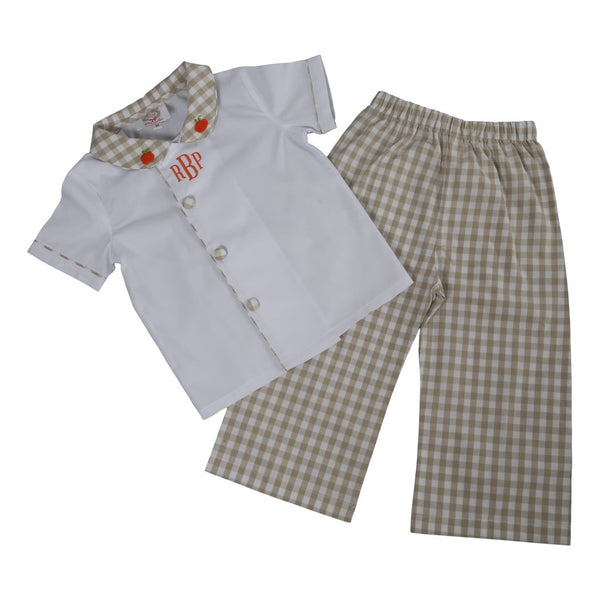 Khaki Check Embroidered Pumpkin Pant Set