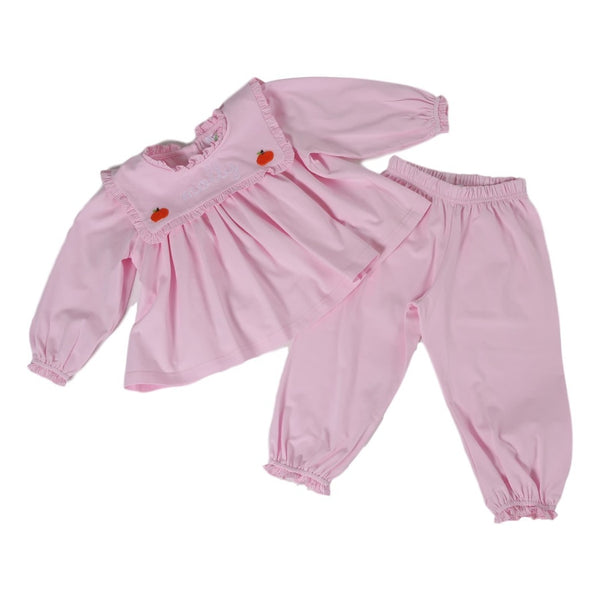 Pink Knit Embroidered Pumpkin Girls Pant Set