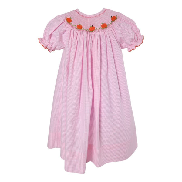 Pink Gingham Mini Smocked Pumpkin Bishop