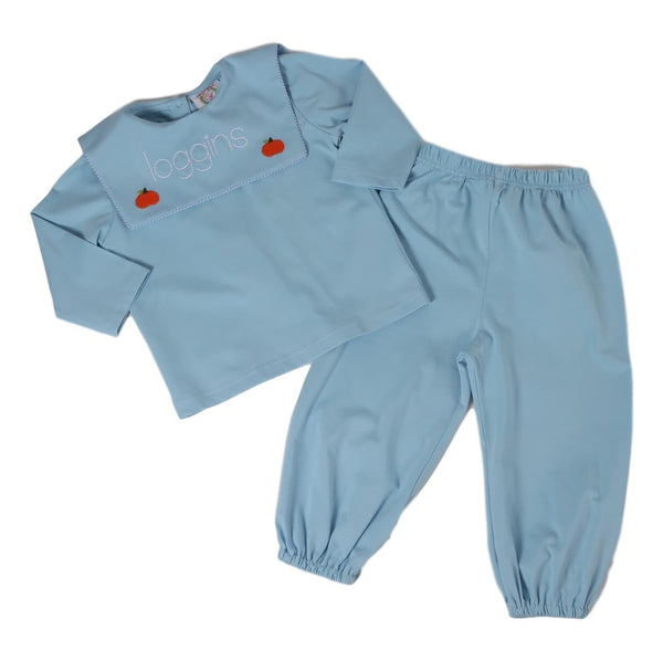 Blue Knit Embroidered Pumpkin Boys Pant Set