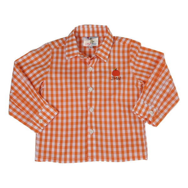 Orange Check Embroidered Pumpkin Button Down