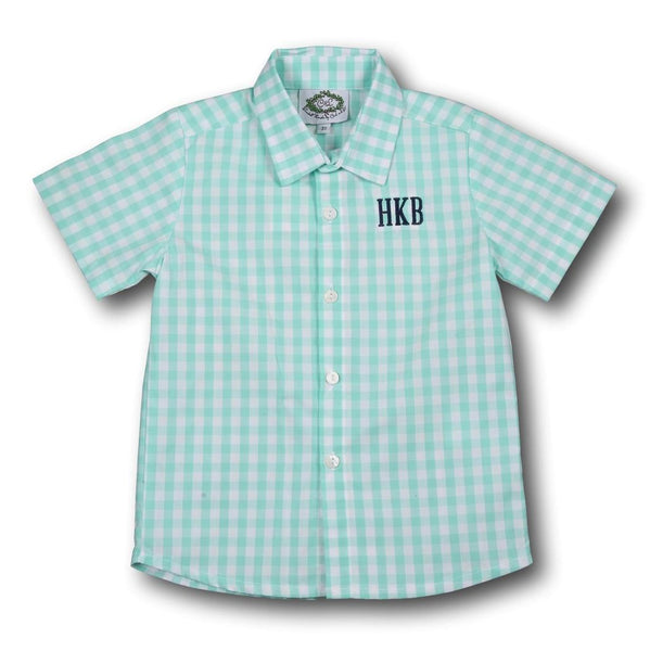Mint Check Button Down