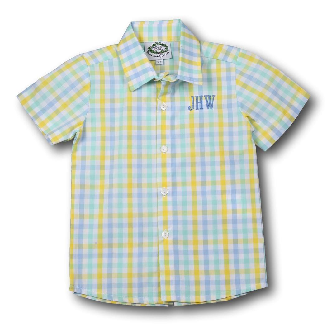 Blue and Yellow Check Button Down